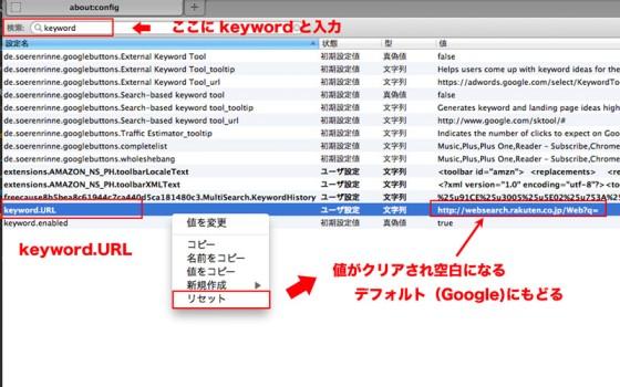 keyword.URLのリセット