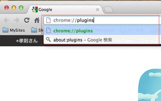 アドレスバーに Chrome://plugins と入力