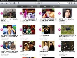 iPad GyaO!アプリ ランキング画面