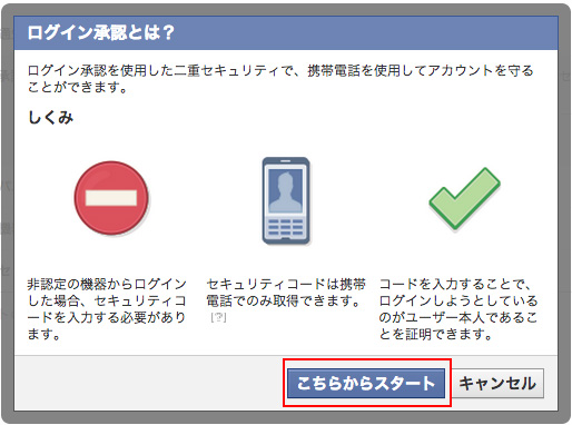 Facebook ログイン承認