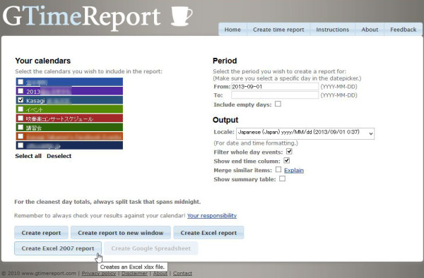 GTimeReport - Creating time reports from your Google Calendar to Excel and Google Docs Spreadsheets.