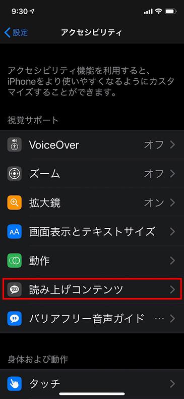 iPhone アクセシビリティメニュー画面