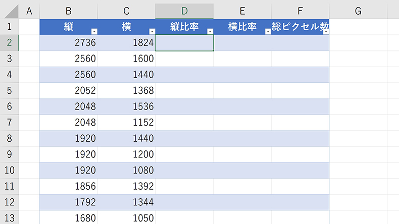 ExcelでGCD関数を利用しアスペクト比を求める