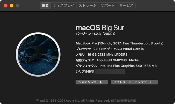 MacBook Pro (13インチ、2017) mac OS Big Sur 11.2.3