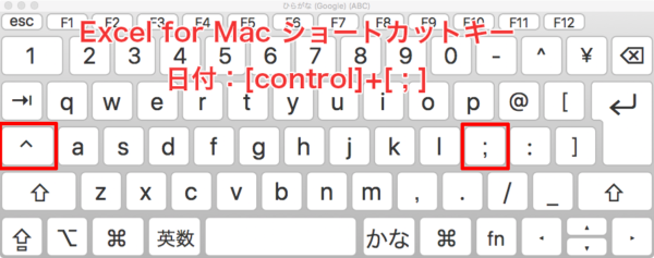 Excel-shortcut-Mac 日付