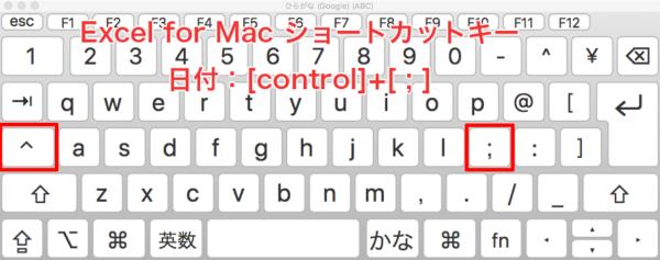 Excel-shortcut-Mac 日付