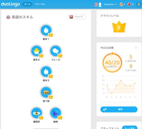 Duolingo ブラウザの画面