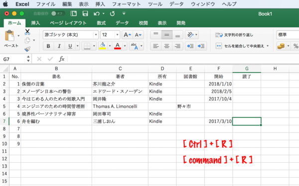 Excel左隣のセルの値をコピーする