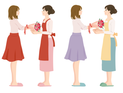 母にプレゼントを渡す女性 by  ガーリー素材