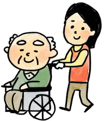 車椅子に乗ったおじいさんのイラスト(介護)by いらすとん