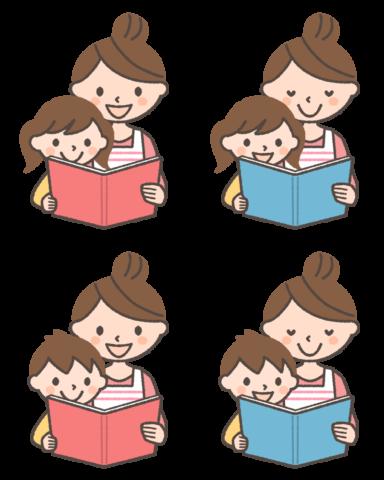 子どもに本を読んであげている女性(ママ)のイラスト4種 by  フリーラ
